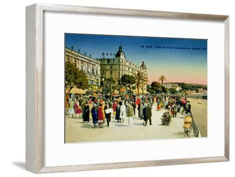 Postcard Depicting the Promenade Des Anglais and the Hotel Ruhl, Nice, C.1930--Framed Art Print