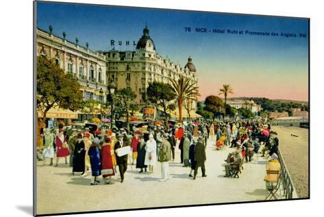 Postcard Depicting the Promenade Des Anglais and the Hotel Ruhl, Nice, C.1930--Mounted Giclee Print