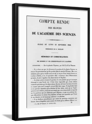 Report of the Sessions at the Academie Des Sciences--Framed Art Print