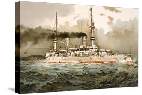 Ship of the Line 'Kaiser Wilhelm', Illustration from 'Deutschland Zur See', 1910--Stretched Canvas Print