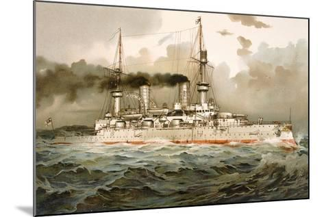 Ship of the Line 'Kaiser Wilhelm', Illustration from 'Deutschland Zur See', 1910--Mounted Giclee Print
