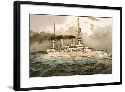 Ship of the Line 'Kaiser Wilhelm', Illustration from 'Deutschland Zur See', 1910--Framed Art Print