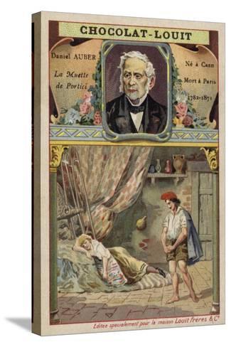 Daniel Auber, French Composer, and a Scene from His Opera La Muette De Portici--Stretched Canvas Print