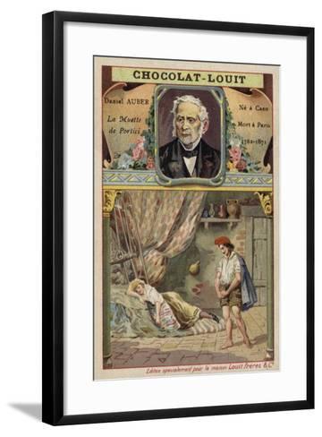 Daniel Auber, French Composer, and a Scene from His Opera La Muette De Portici--Framed Art Print