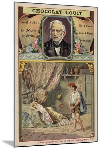 Daniel Auber, French Composer, and a Scene from His Opera La Muette De Portici--Mounted Giclee Print