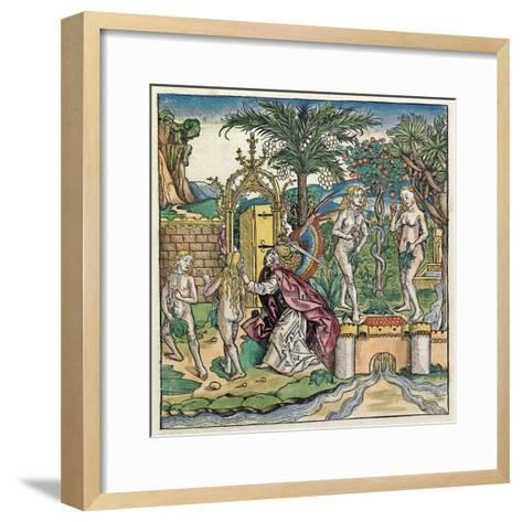 Adam and Eve Being Banished from Eden, Published in the Nuremberg Chronicle, 1493--Framed Art Print