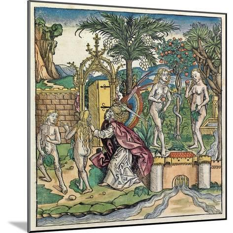 Adam and Eve Being Banished from Eden, Published in the Nuremberg Chronicle, 1493--Mounted Giclee Print