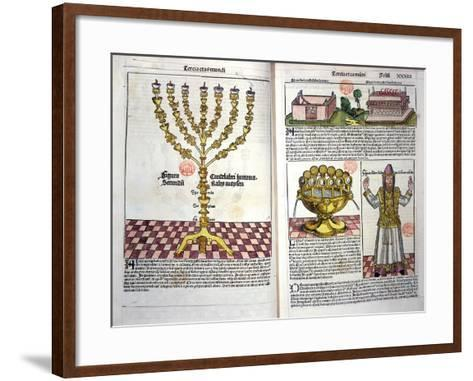 The Menorah and a Hebrew Priest, from the Nuremberg Chronicle by Hartmann Schedel--Framed Art Print