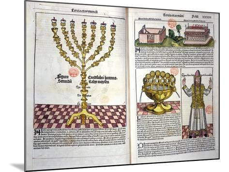 The Menorah and a Hebrew Priest, from the Nuremberg Chronicle by Hartmann Schedel--Mounted Giclee Print
