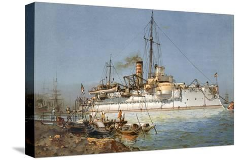 Armour Plated Warship the 'Hildebrand', Illustration from 'Deutschland Zur See', 1910--Stretched Canvas Print
