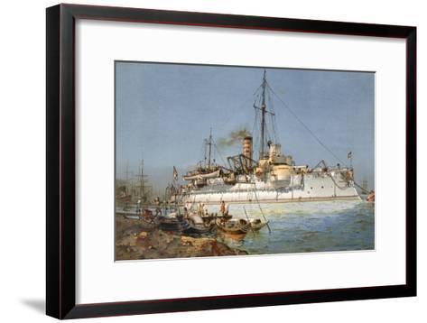 Armour Plated Warship the 'Hildebrand', Illustration from 'Deutschland Zur See', 1910--Framed Art Print