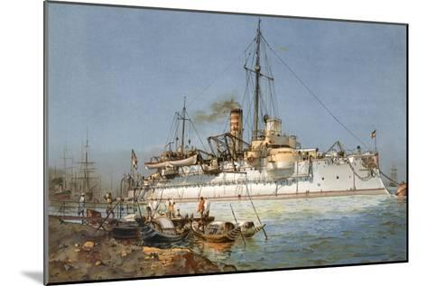 Armour Plated Warship the 'Hildebrand', Illustration from 'Deutschland Zur See', 1910--Mounted Giclee Print