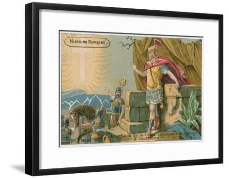 Apparition of the Cross Announcing Victory to Constantine at the Battle of Milvian Bridge, 312--Framed Art Print