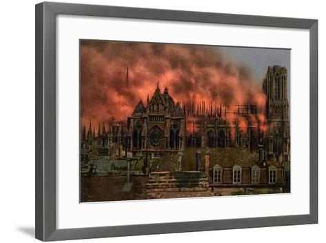 The Cathedral of Rheims During the Bombardment by German Artillery, 19th September, 1914--Framed Art Print