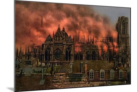 The Cathedral of Rheims During the Bombardment by German Artillery, 19th September, 1914--Mounted Giclee Print