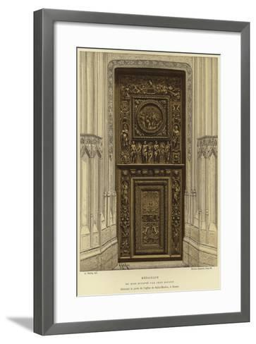 Medallion in Wood Carved by Jean Goujon in the Door of the Church of Saint-Maclou, Rouen--Framed Art Print