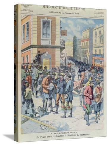 The Crowd Reading the Tsar's Manifesto, Front Cover of 'Le Petit Parisien', October 1905--Stretched Canvas Print