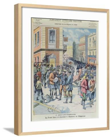 The Crowd Reading the Tsar's Manifesto, Front Cover of 'Le Petit Parisien', October 1905--Framed Art Print