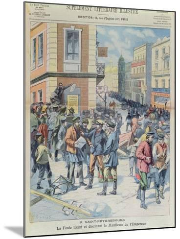 The Crowd Reading the Tsar's Manifesto, Front Cover of 'Le Petit Parisien', October 1905--Mounted Giclee Print