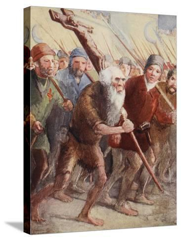 Peter the Hermit Setting Out before the Army Was Ready with His Followers and Walter the Penniless--Stretched Canvas Print