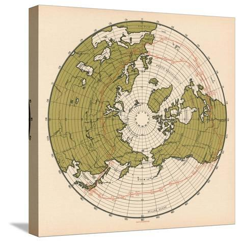 Map Showing the Route Taken by LZ 127 Graf Zeppelin on its Passage around the Globe in 1929, 1932--Stretched Canvas Print