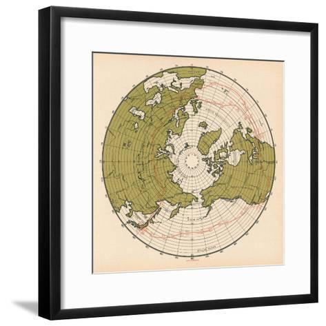 Map Showing the Route Taken by LZ 127 Graf Zeppelin on its Passage around the Globe in 1929, 1932--Framed Art Print