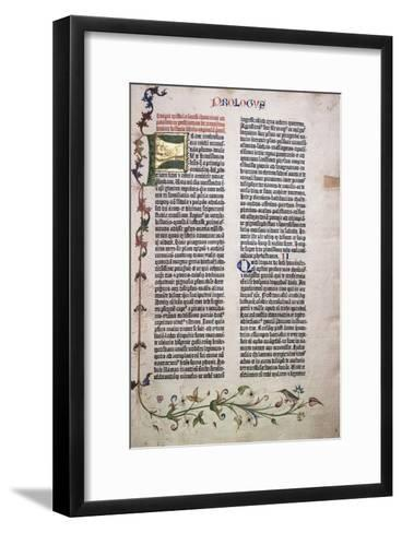 Prologue Folio with Gold and Green Letter 'F', and Border of Leaves, Flowers, Vines and Bird, 1455--Framed Art Print