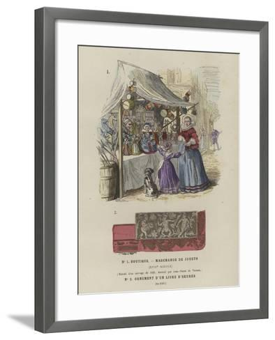 Toy Seller's Stall, 17th Century, and Decoration from a Book of Hours, 1520--Framed Art Print