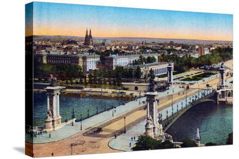 Bridge Alexander Iii, from 'Souvenirs De Paris - Monuments Vues En Couleurs'--Stretched Canvas Print