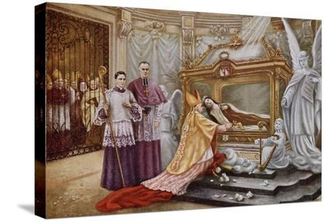 Cardinal Vico, the Papal Legate, before the Coffin of St. Therese of Lisieux--Stretched Canvas Print