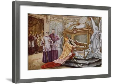 Cardinal Vico, the Papal Legate, before the Coffin of St. Therese of Lisieux--Framed Art Print