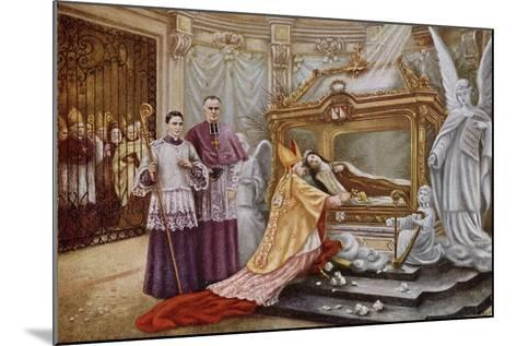 Cardinal Vico, the Papal Legate, before the Coffin of St. Therese of Lisieux--Mounted Giclee Print