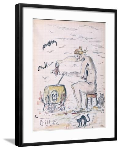 A Witch Preparing a Philtre, from a Manuscript by a Pharmacology Student, C.1920--Framed Art Print