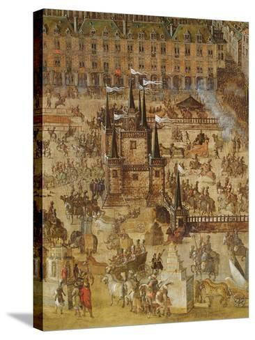 The Place Royale and the Carrousel in 1612, Detail of the Palais De La Felicite and the Chariots--Stretched Canvas Print