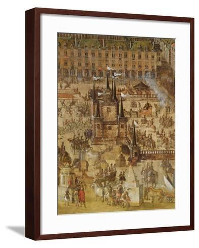 The Place Royale and the Carrousel in 1612, Detail of the Palais De La Felicite and the Chariots--Framed Art Print