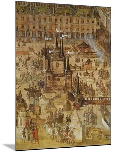 The Place Royale and the Carrousel in 1612, Detail of the Palais De La Felicite and the Chariots--Mounted Giclee Print