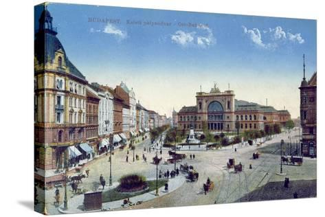 Postcard Depicting the Keleti Palyaudvar Station in Budapest, Hungary, C.1900--Stretched Canvas Print