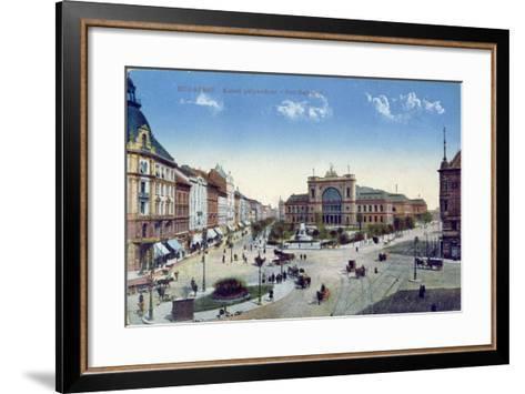 Postcard Depicting the Keleti Palyaudvar Station in Budapest, Hungary, C.1900--Framed Art Print