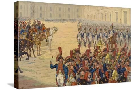 First Review of the Consular Guard on the Parade Ground at the Tuileries Palace--Stretched Canvas Print