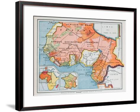 Map of French West and Equatorial Africa, from a School Geography Textbook, 1938--Framed Art Print