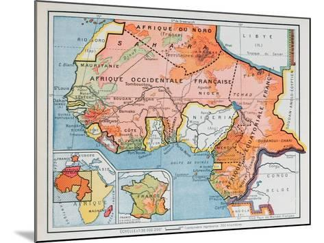 Map of French West and Equatorial Africa, from a School Geography Textbook, 1938--Mounted Giclee Print