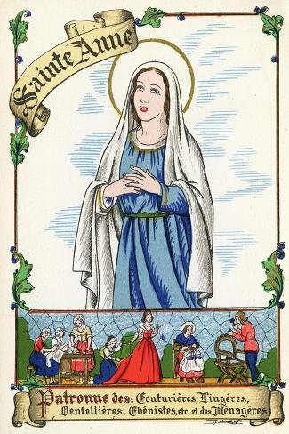 Saint Anne, Patron of Couturiers, Dressmakers, Lace Makers, Cabinet Makers and Home Makers, C.1910--Stretched Canvas Print