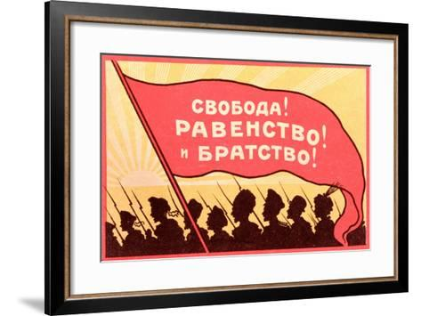 Long Live Equality and Brotherhood!', Postcard from the Russian Revolution, C.1917-20--Framed Art Print