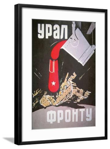 Soviet Poster Demonstrating How Increased War Production Will Crush the Germans, 1940S--Framed Art Print