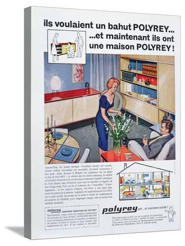 Advertisement for Polyrey Furniture, from 'Maison France' Magazine, July 1960--Stretched Canvas Print