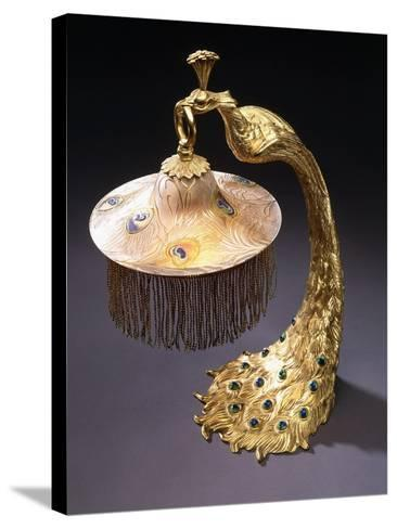 A Table Lamp with the Base Cast as a Peacock Holding the Glass Shade from its Mouth, C.1900--Stretched Canvas Print