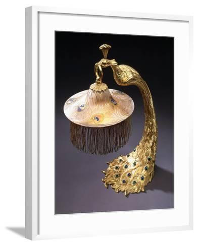 A Table Lamp with the Base Cast as a Peacock Holding the Glass Shade from its Mouth, C.1900--Framed Art Print