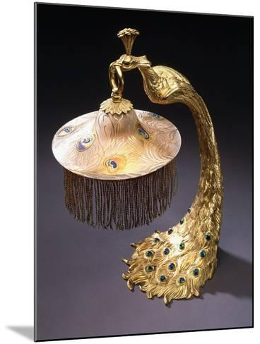 A Table Lamp with the Base Cast as a Peacock Holding the Glass Shade from its Mouth, C.1900--Mounted Giclee Print
