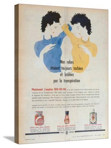 Advertisement for the Deodorants Odo-Ro-No, Illustration from 'Marie-France' Magazine, 1949--Stretched Canvas Print