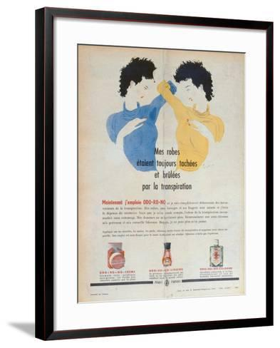 Advertisement for the Deodorants Odo-Ro-No, Illustration from 'Marie-France' Magazine, 1949--Framed Art Print